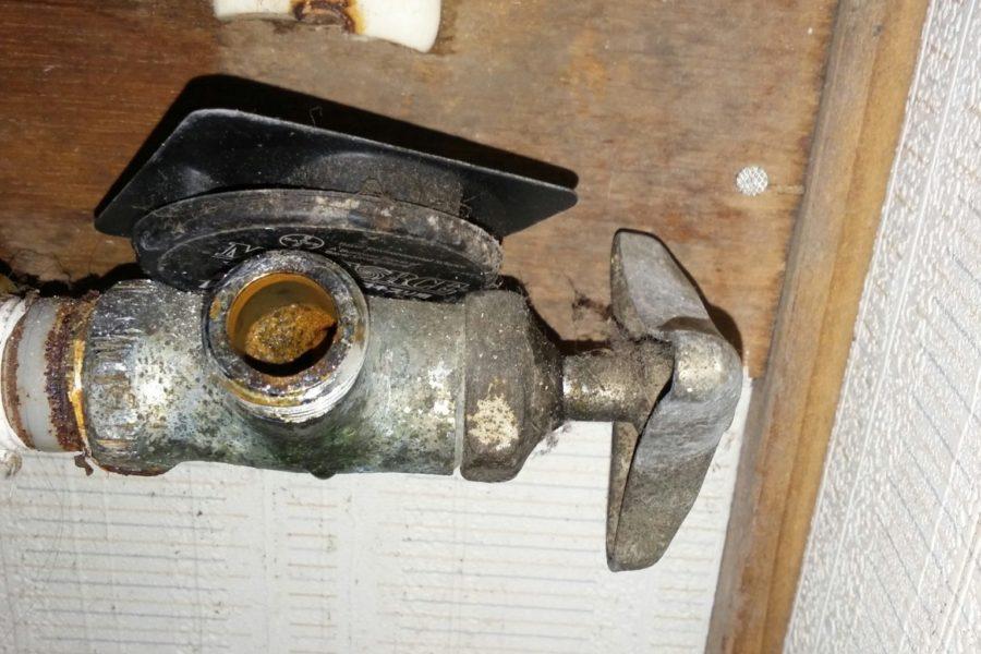 洗面止水栓老朽化の写真