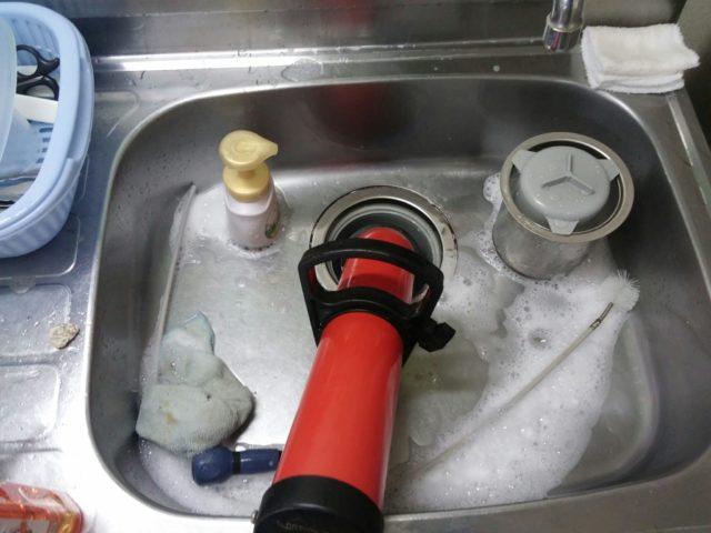 キッチンつまり高圧洗浄の写真