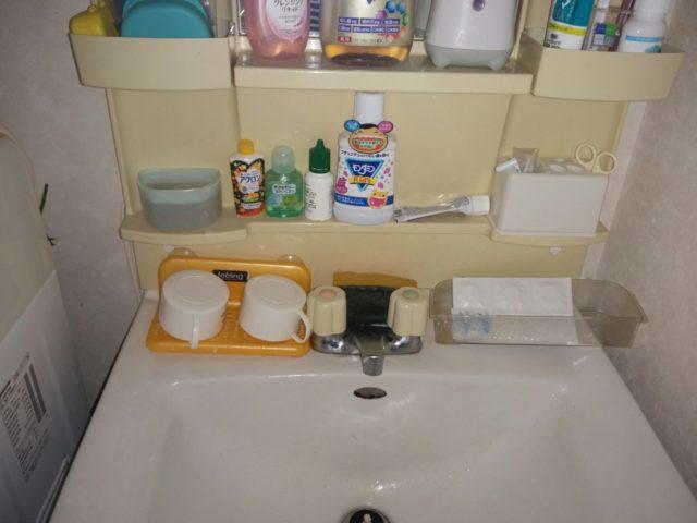 洗面所蛇口水漏れの写真